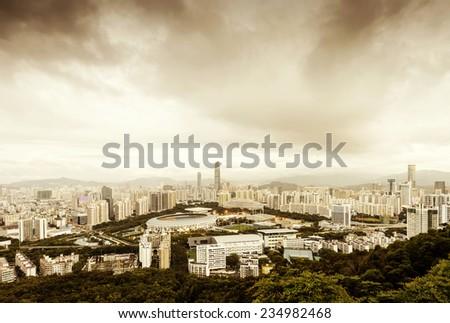 Aerial view of China's coastal cities: Shenzhen. - stock photo