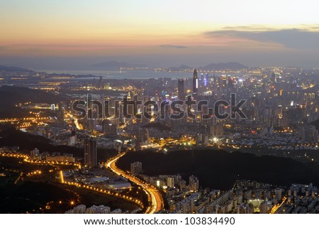 Aerial view of  chinese city at sunset