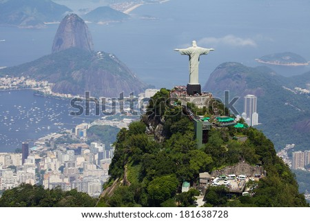 Aerial view of Christ Redeemer and Corcovado Mountain - stock photo
