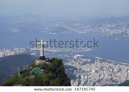 Aerial view of Christ Redeemer and harbor - stock photo