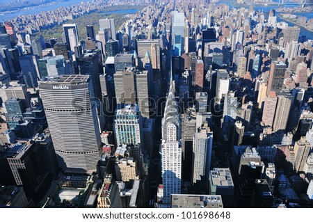 Aerial view of Chrysler Buidling, New York - stock photo