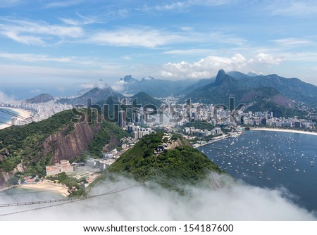 Aerial view of city and harbor of Rio de Janeiro in Brazil from cable car on Sugarloaf Mountain