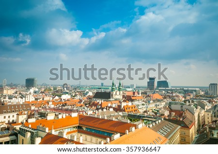 Aerial view of city center Vienna  from St. Stephen's Cathedral