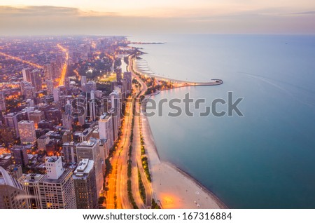 Aerial View of City Downtown twilight - stock photo