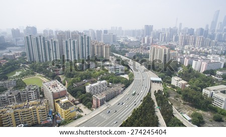aerial view of city highway,guangzhou china - stock photo
