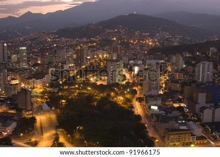 Aerial View Of City Night, Modern Urban City At Night - stock photo