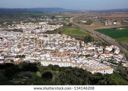 Aerial view of city of Almodovar del Rio, Cordoba, Andalusia, Spain - stock photo