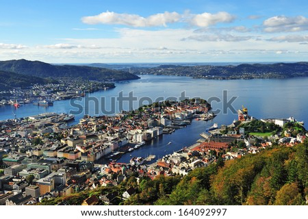Aerial view of city of Bergen from Mt. Floyen, Norway