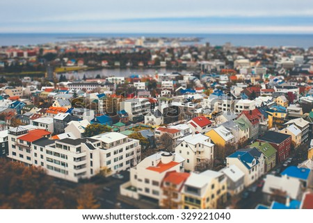 Aerial view of city Reykjavik, Iceland with tilt shift effect. Toy Town - stock photo