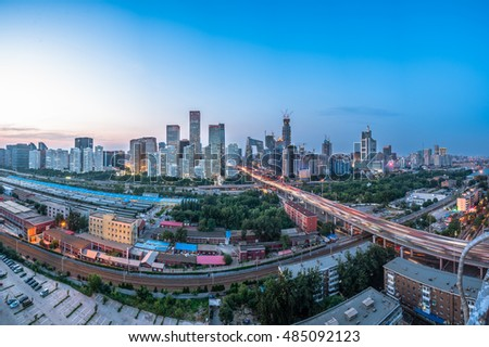 aerial view of cityscape in Beijing,China.