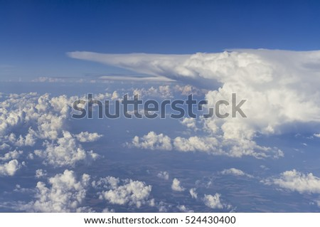 aerial view of clouds from airplane