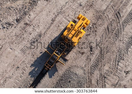 aerial view of coal mine in Poland - stock photo