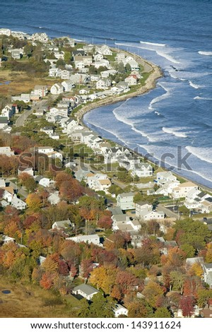 Aerial view of coastline of homes in Ogunquit, Maine - stock photo