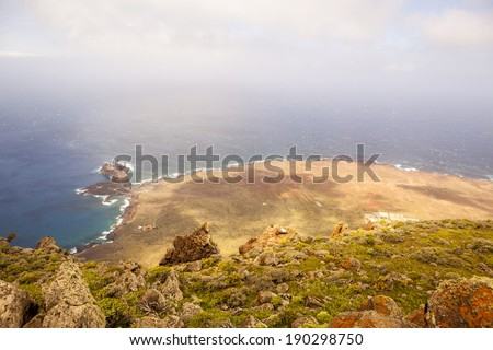 aerial view of coastline of Punta Teno, Tenerife, Canary Islands, Spain - stock photo
