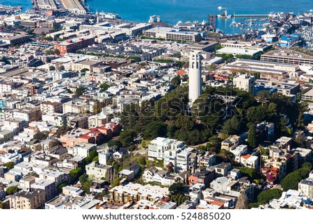 Aerial view of Coit Tower in San Francisco, California.