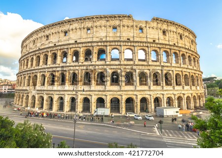 Aerial view of coliseum, Colosseum, Flavian Amphitheatre, the largest amphitheater in the world and one of the symbols of Italy. Symbol of Rome, located in historical center, Unesco Heritage Site. - stock photo