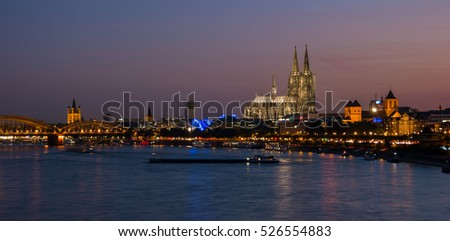 Aerial view of Cologne at night, Germany