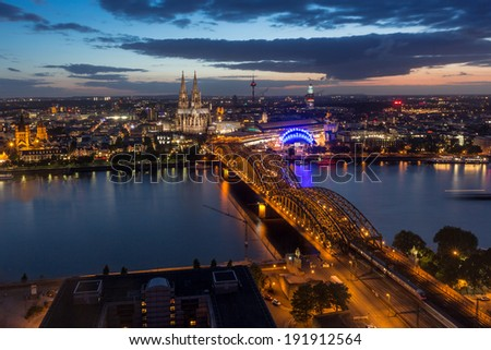 Aerial View of Cologne, Germany, at Twilight - stock photo