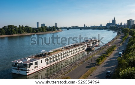 Aerial view of Cologne over the Rhine River with cruise ship in Cologne
