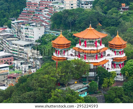 Aerial view of colorful Buddha temple in The Chung Cheng Park. Keelung, Taiwan