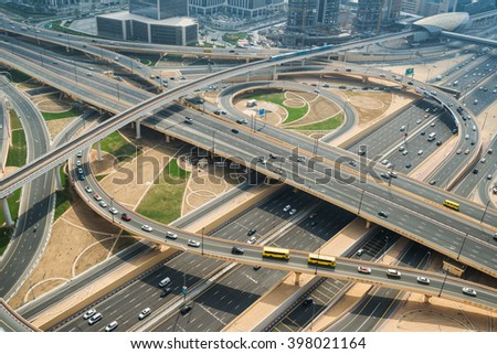 Aerial view of complex highway junction - stock photo