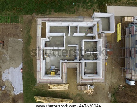 aerial view of Construction side suburban house in germany - stock photo