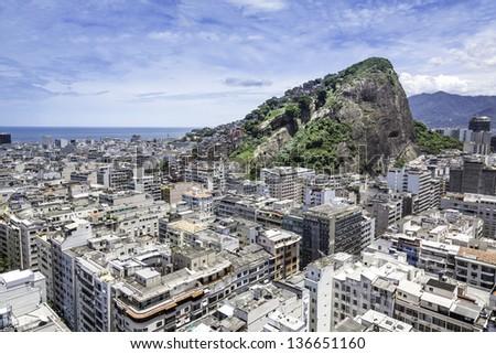Aerial view of Copacabana Beach in Rio de Janeiro, Brazil - stock photo