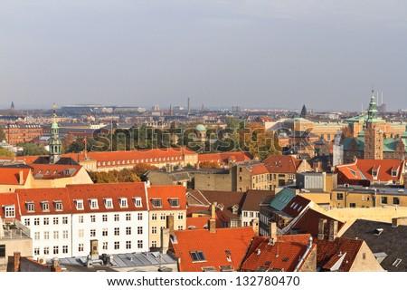 Aerial view of Copenhagen - stock photo