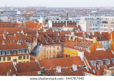 Aerial view of Copenhagen city center, and its traditional  architecture.