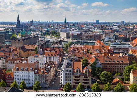 Aerial view of Copenhagen red roofs and canal. Christianshavn and central distrinct