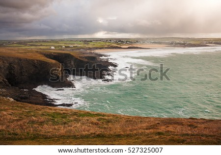 Aerial view of Cornish coastline from Padstow.