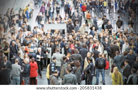 Aerial view of crowd people, intentionally blurred post production