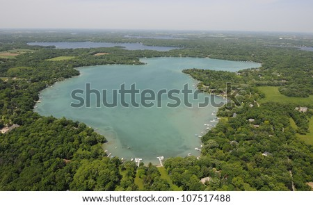 Aerial View of crystal clear lake, Beaver Lake Wisconsin - stock photo