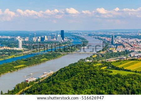 Aerial view of danube river, donauinsel island and vienna international center from kahlenberg hill in vienna