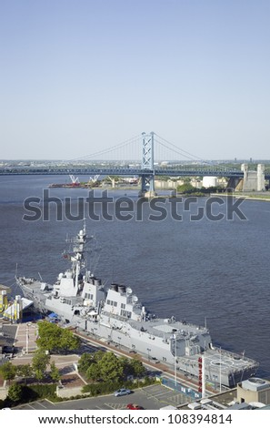 Aerial view of Delaware River, Benjamin Franklin Bridge and waterfront of Philadelphia, Pennsylvania - stock photo