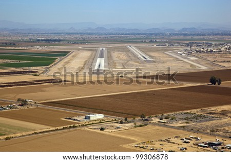 Aerial view of desert airport for fighter jets and aircraft - stock photo
