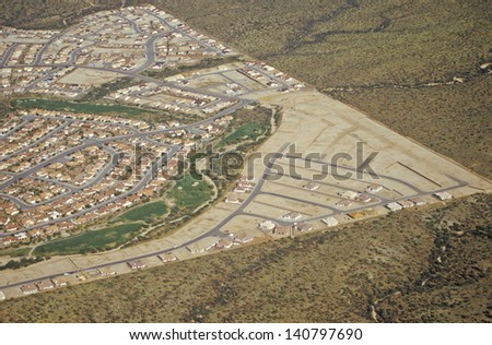 Aerial view of desert land use in Tucson, Arizona - stock photo