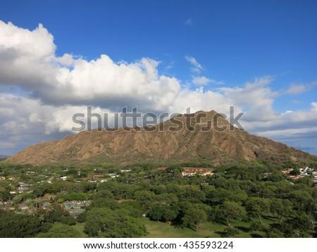 Aerial view of Diamondhead crater, Kapiolani Park, the gold coast, and surrounding neighborhood on Oahu, Hawaii.  March 2016. - stock photo