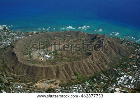 Aerial view of Diamondhead, Kapahulu, Kahala, Pacific ocean on Oahu, Hawaii. April 2016.