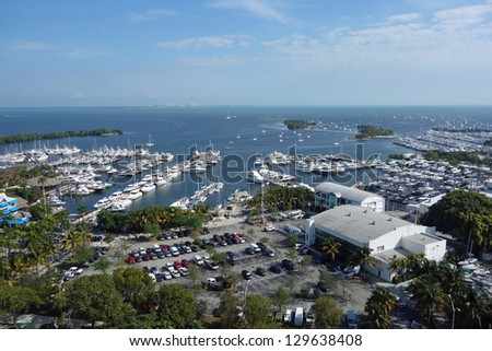 Aerial view of Dinner Key and Biscayne Bay in Coconut Grove, Florida near Miami - stock photo