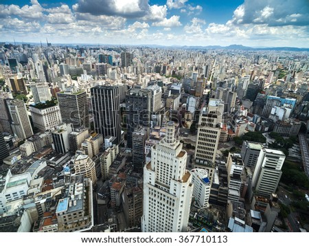Aerial View of Downtown and Banespa Building in Sao Paulo, Brazil