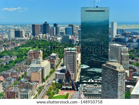 Aerial view of downtown Boston and Hancock Tower, Boston, MA, USA - stock photo
