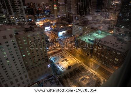 Aerial View of Downtown Denver, Colorado, USA - stock photo