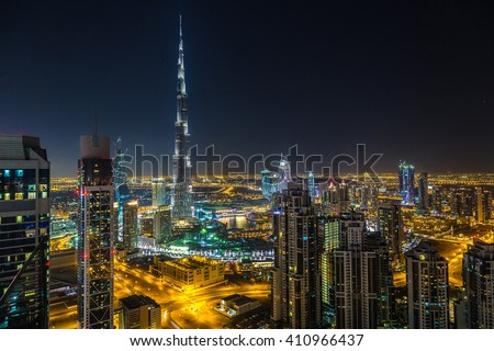 Aerial view of downtown Dubai at night, United Arab Emirates