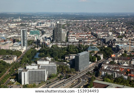 Aerial view of downtown Dusseldorf, Germany