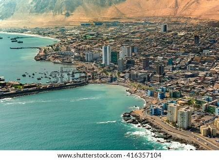 Aerial view of downtown Iquique in the Atacama Desert, Chile - stock photo