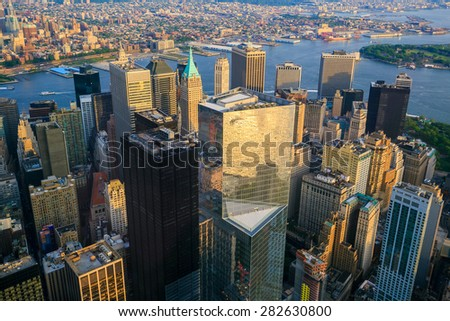 Aerial view of Downtown Manhatton New York at sunset