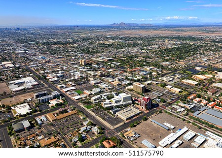 Aerial view of Downtown Mesa, Arizona looking to the northwest with Tempe, Phoenix and Scottsdale in the distance