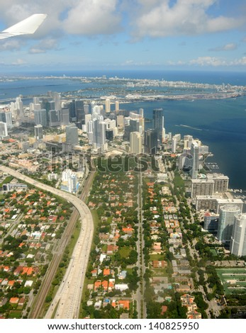 Aerial view of downtown Miami, Florida seen from landing airplane