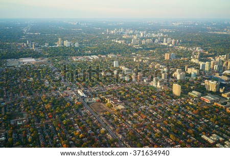 aerial view of downtown Toronto, evening light